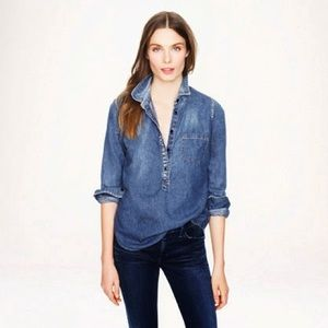 J. Crew Classic Chambray Popover Top size 10